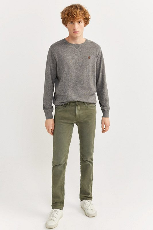 SLIM FIT WASHED 5-POCKET COLOURED TROUSERS