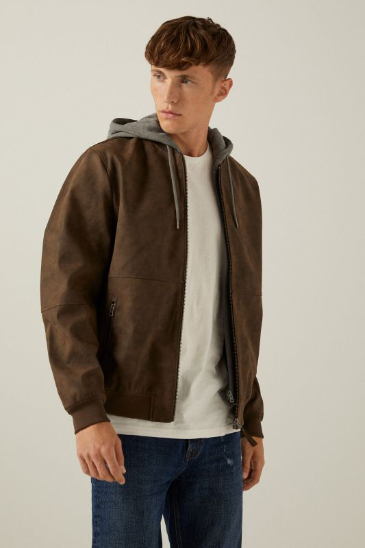 Faux leather hooded bomber