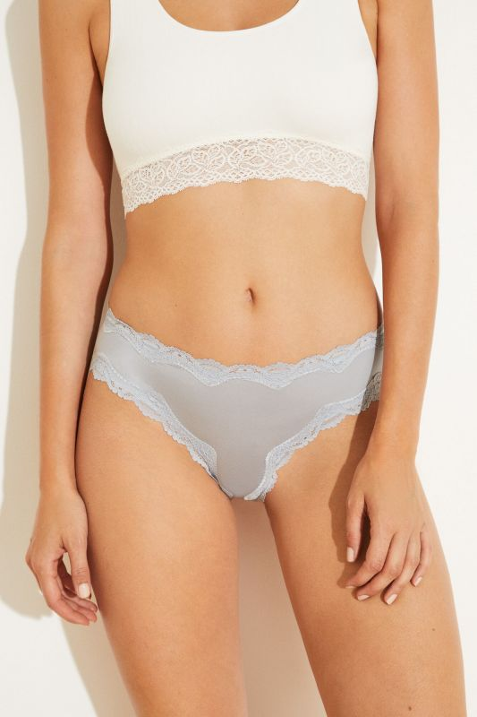 Blue microfibre and lace wide side Brazilian panty