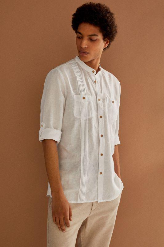 Linen mandarin shirt