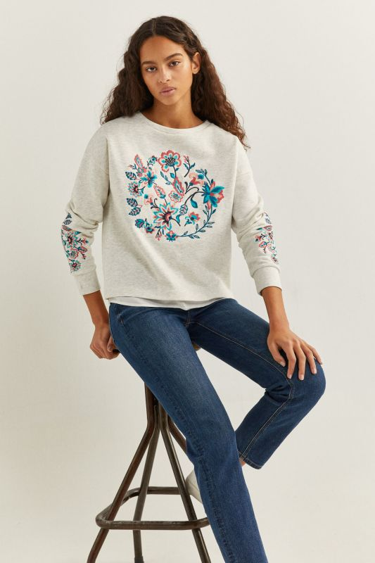 Two-Material Floral Embroidery Sweatshirt