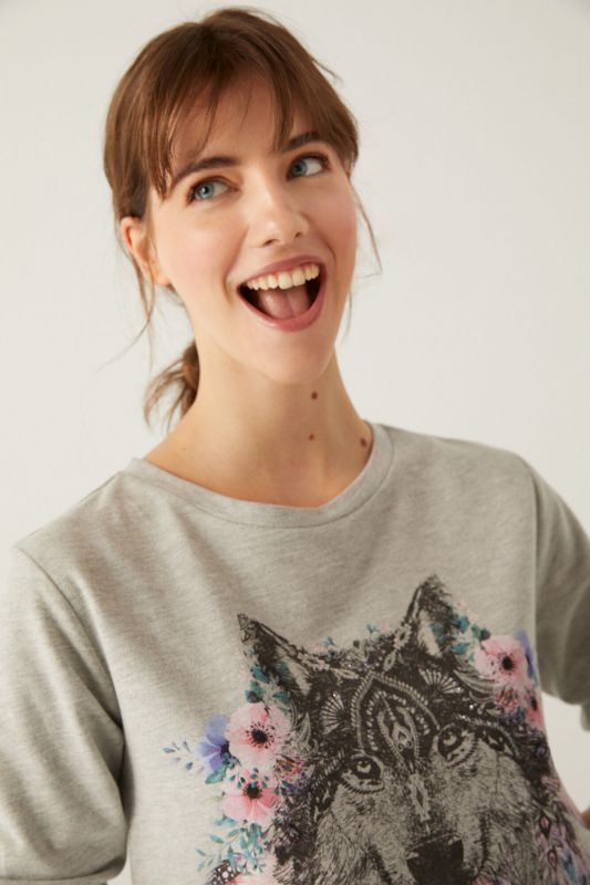 Two-Material Floral Wolf Sweatshirt