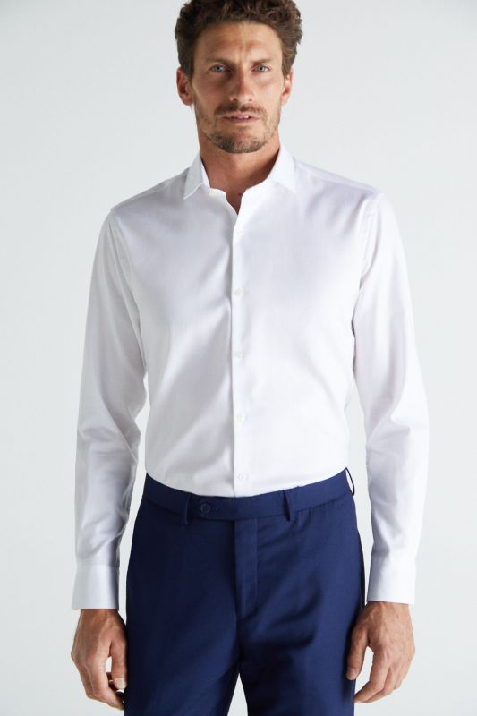Textured slim fit stain resistant dress shirt