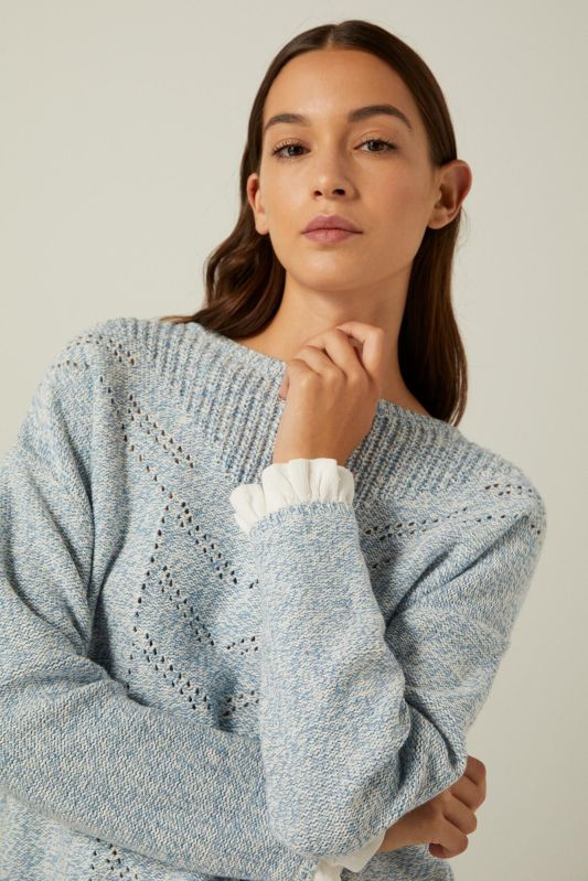 Reconsider twisted yarn openwork jumper
