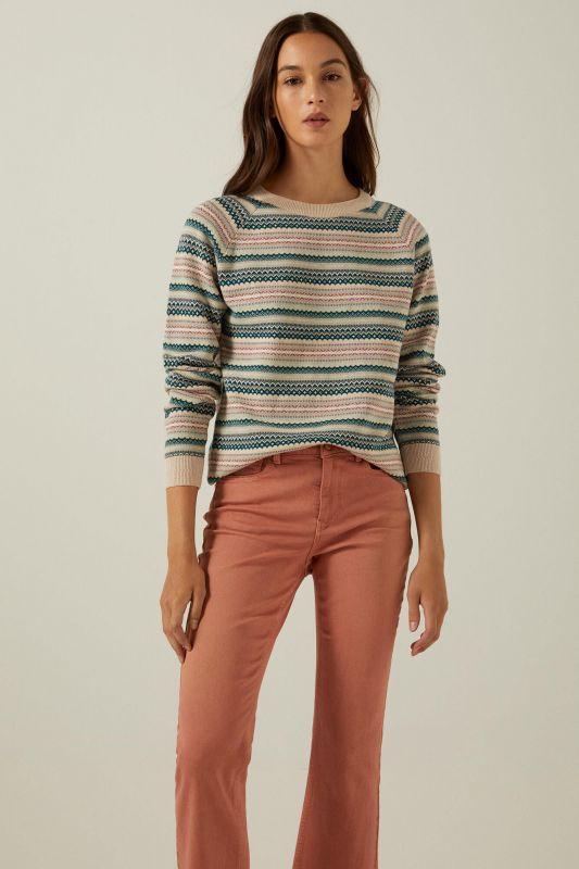 Organic cotton jacquard borders jumper