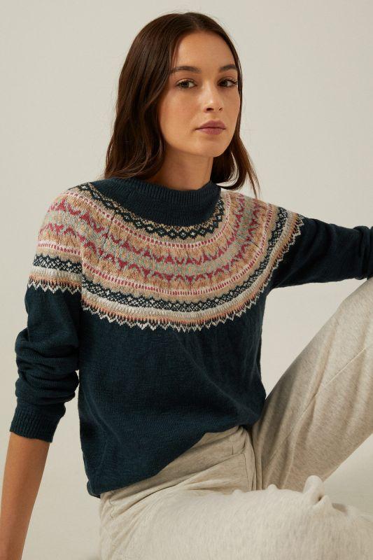 Organic cotton jacquard collar jumper
