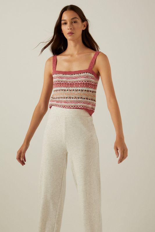 Organic cotton jacquard knit top
