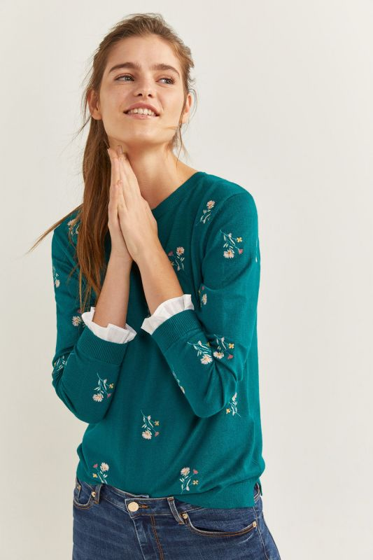 Two-Material Floral Embroidery Jumper