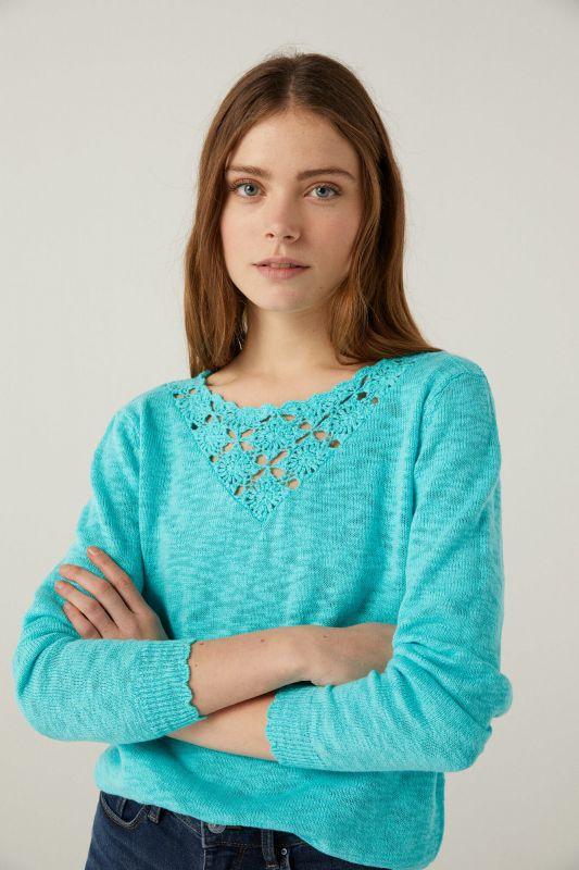 Jumper with crochet neckline