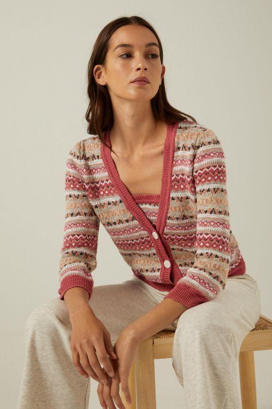 Organic cotton jacquard cardigan