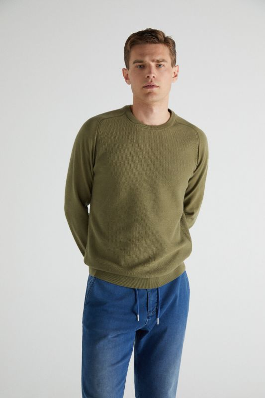 Crew neck jumper with textured front