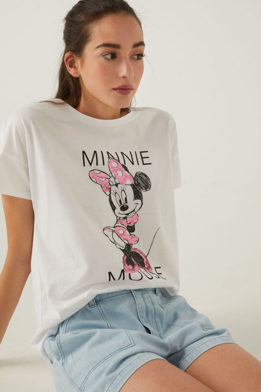 Organic cotton Minnie Mouse sequins T-shirt