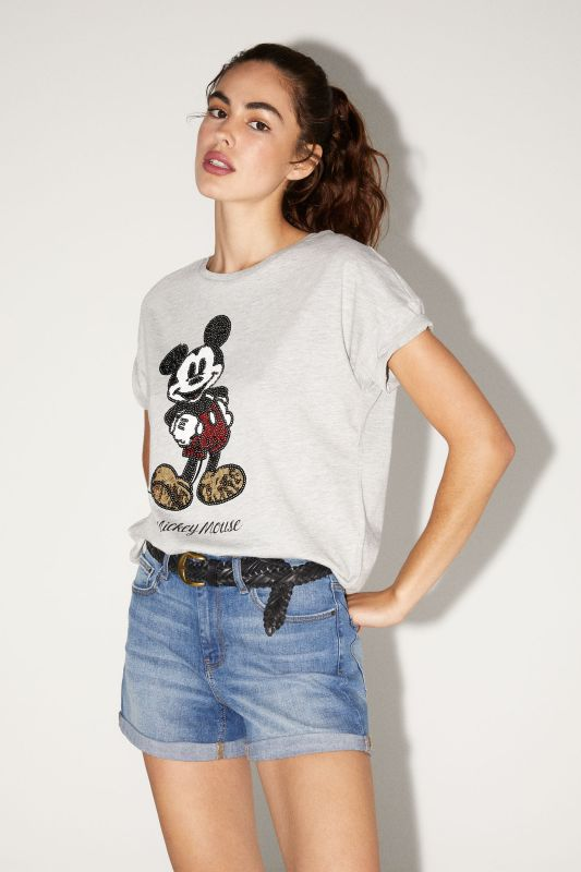 Organic cotton Mickey sequins T-shirt
