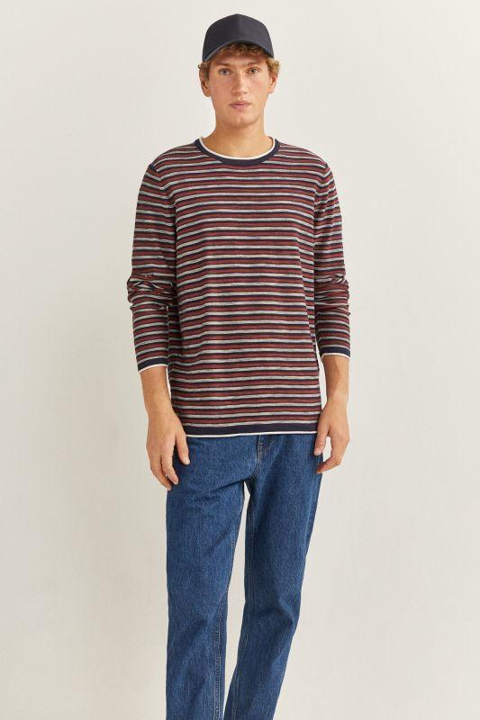 Fine slub striped jumper