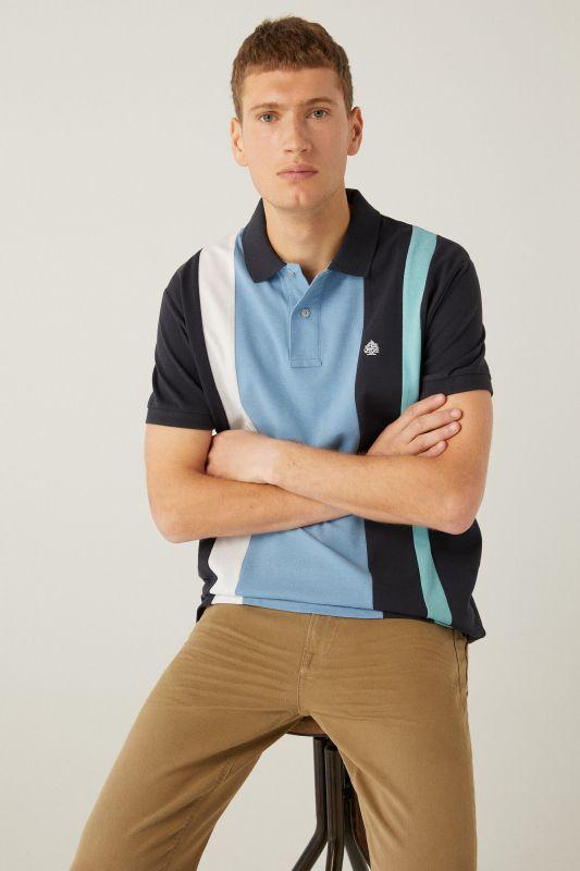 Horizontal striped piqué polo shirt