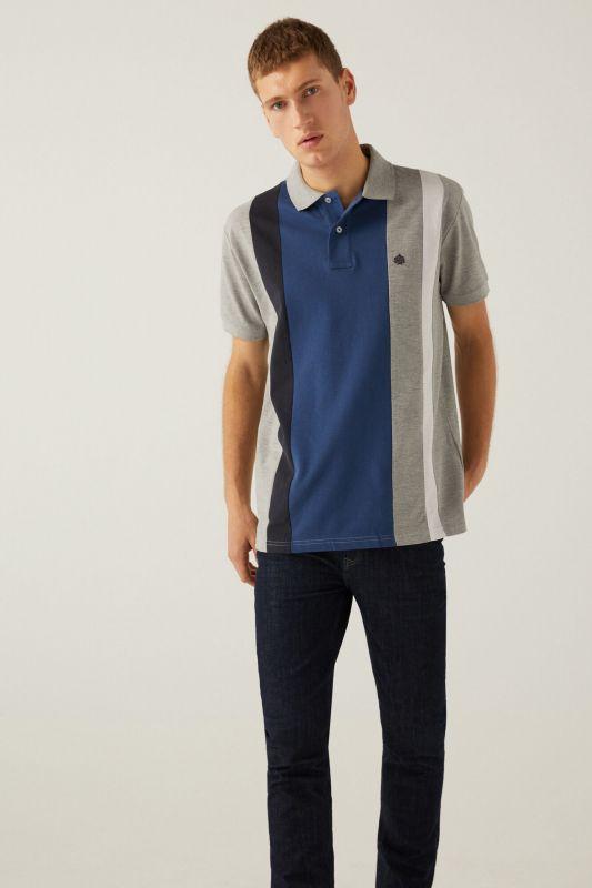 Horizontal striped polo shirt