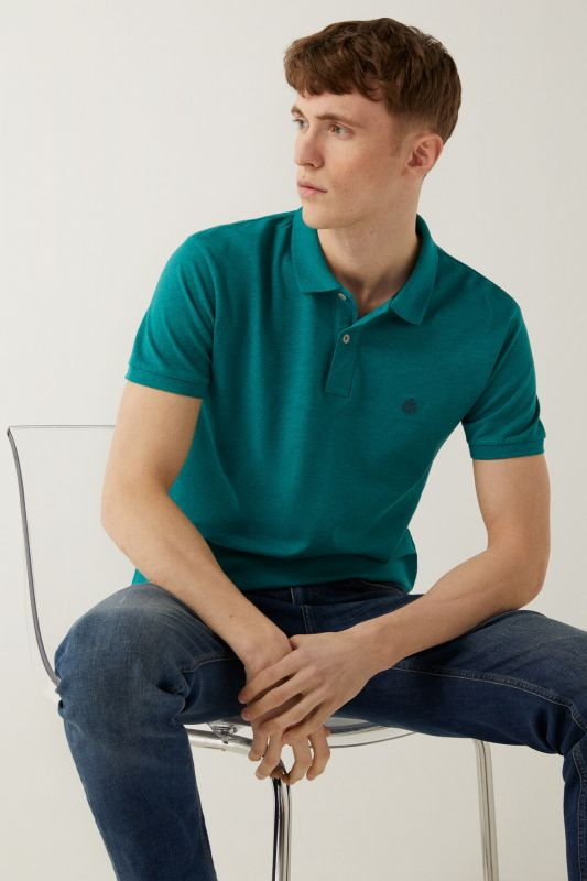 Slim overdyed effect piqué polo shirt