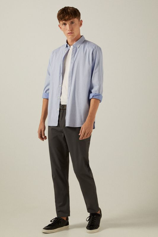 Slim fit micro-print chinos with key ring