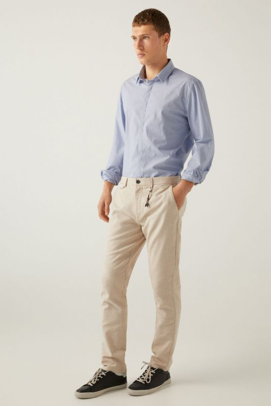 Two-tone stretch linen chinos