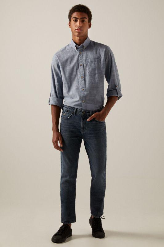 Grey-blue dark wash slim fit jeans