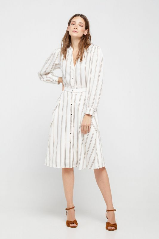 Striped mandarin collar dress