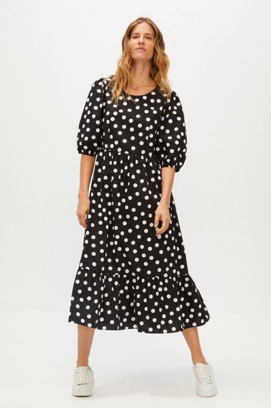 Flounced polka-dot dress