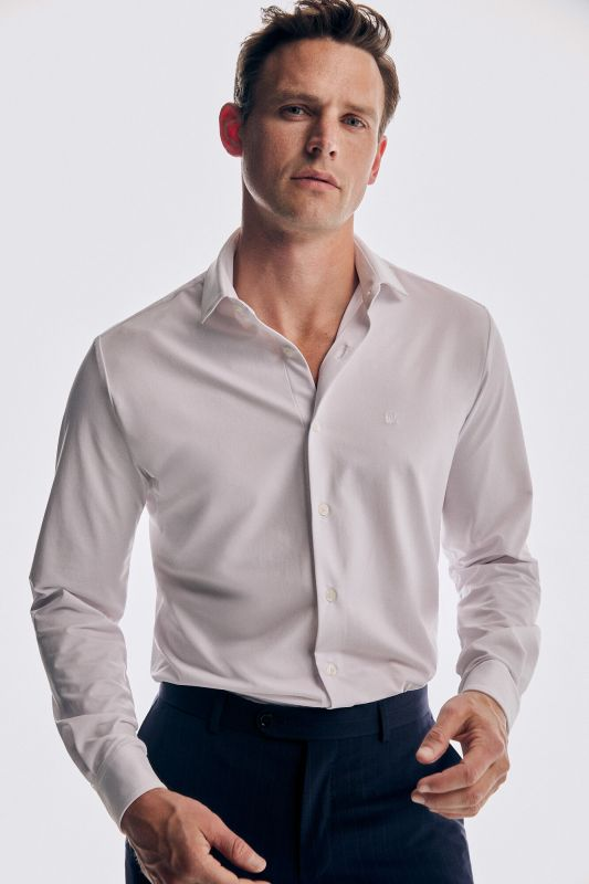 Slim fit white super stretch dress shirt