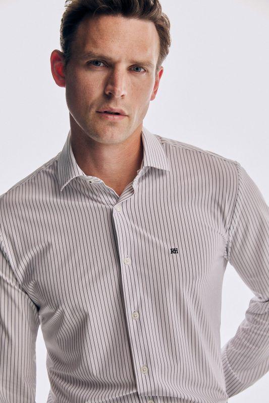 Slim fit striped super stretch dress shirt