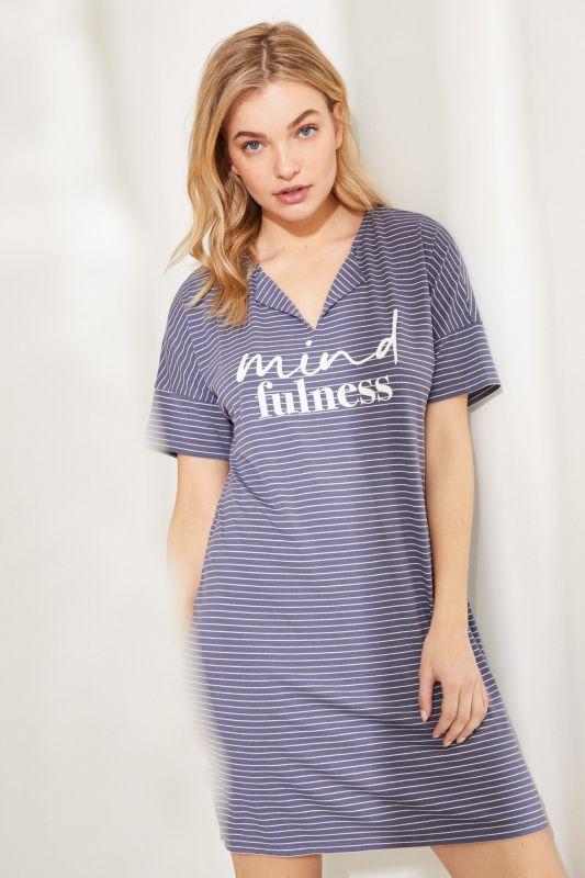 Super soft striped midi nightgown