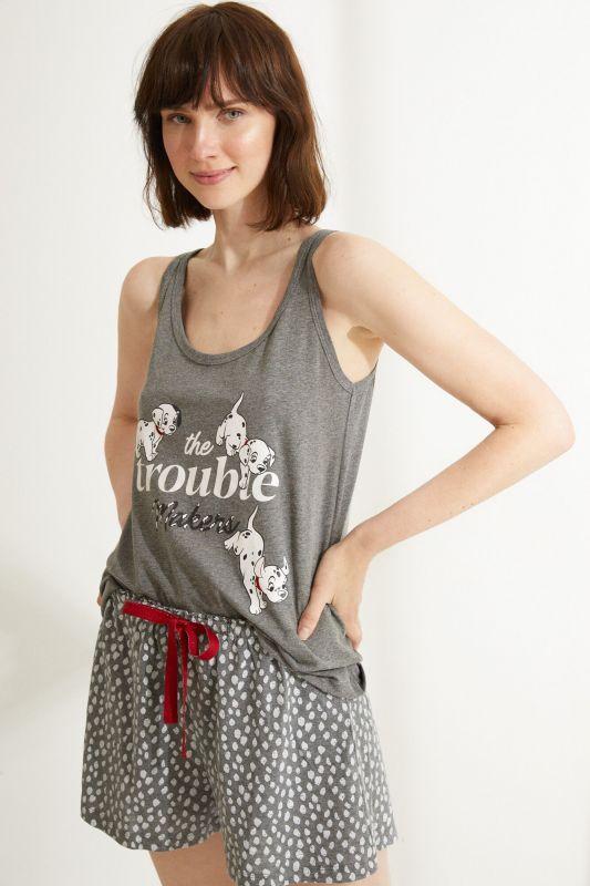 Short grey cotton 101 Dalmatians vest pyjamas