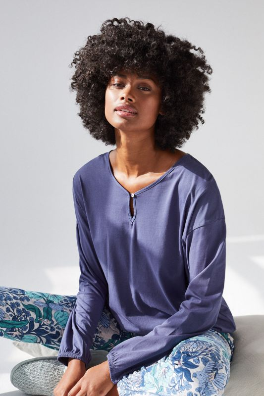 Blue cotton long-sleeved top
