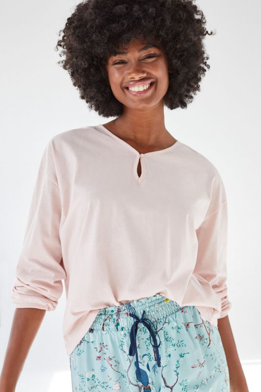 Pink cotton long-sleeved top