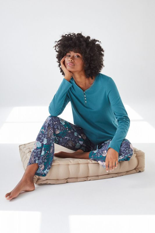 Blue cotton long-sleeved Henley top