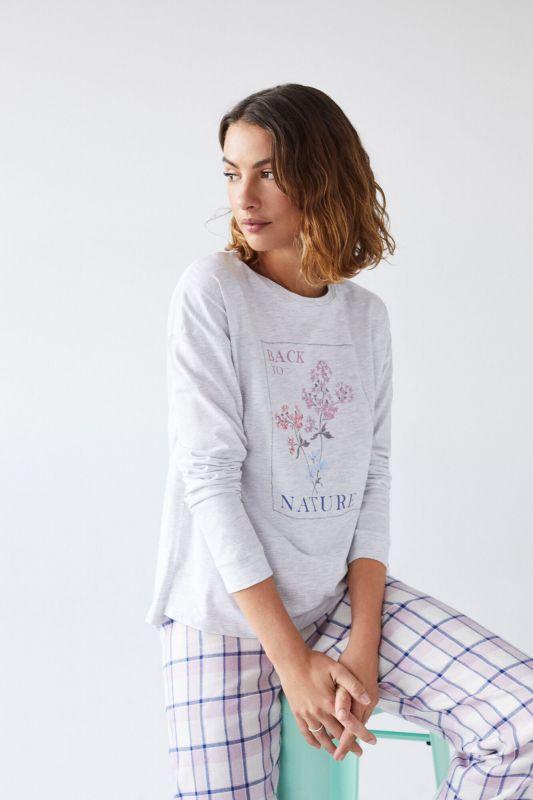 Grey cotton long-sleeved T-shirt