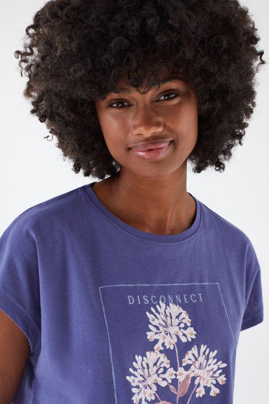 Blue cotton short-sleeved T-shirt