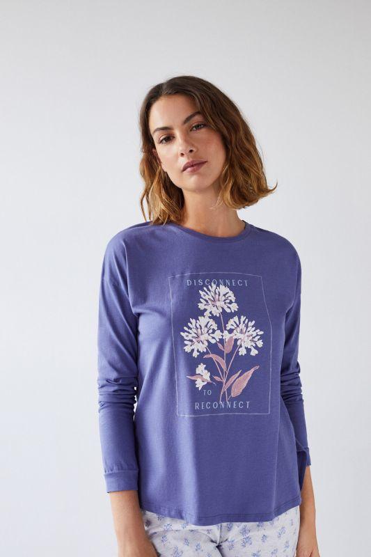 Blue cotton long-sleeved T-shirt