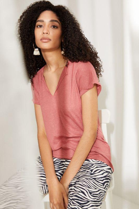 Red linen V-neck top