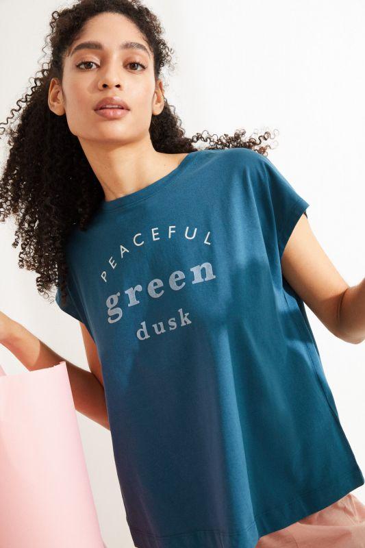 Blue cotton short-sleeved top
