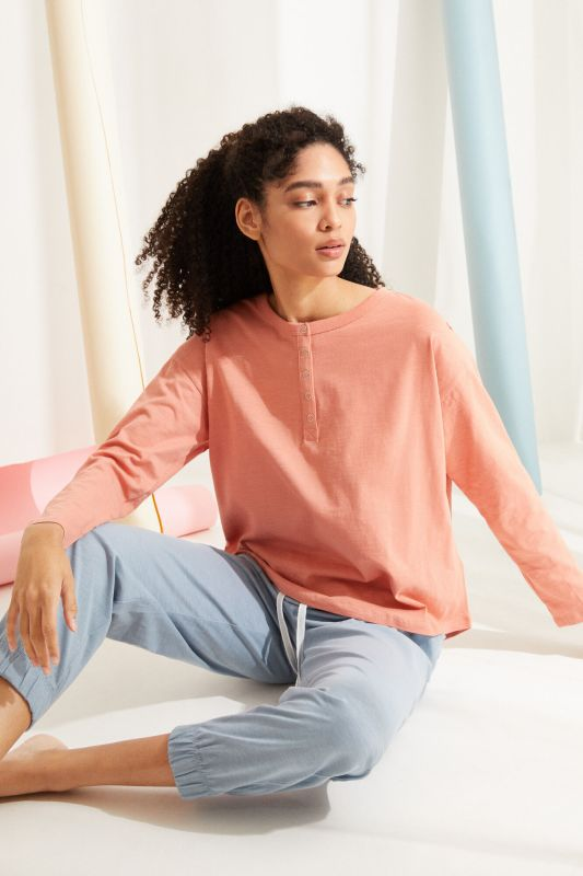 Coral cotton long-sleeved Henley top