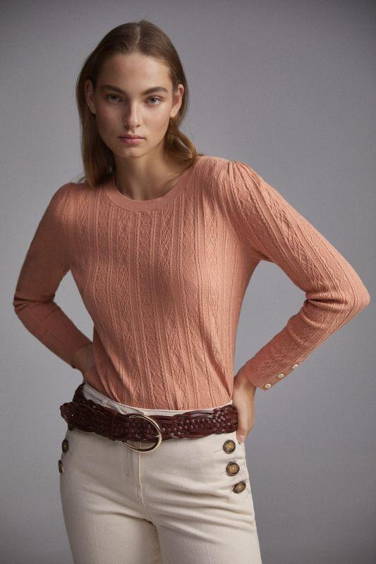 Cross-knit patterned jumper