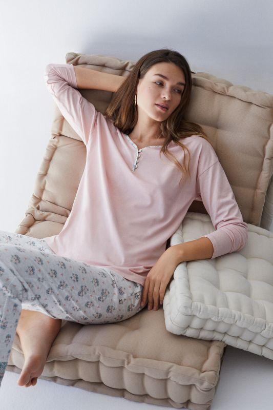 Long grey organic cotton pyjamas