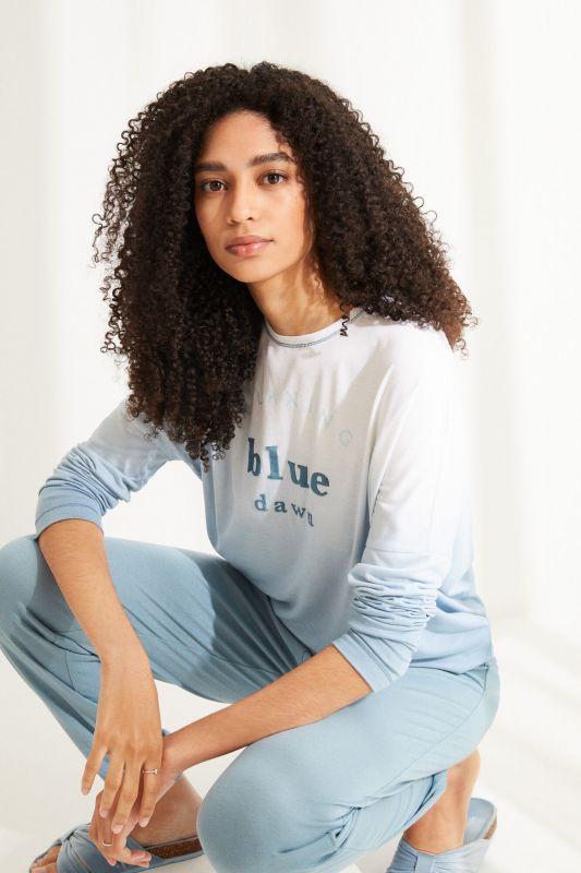 Long blue super soft jersey-knit long-sleeved pyjamas