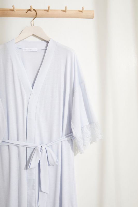Satin lace maternity robe