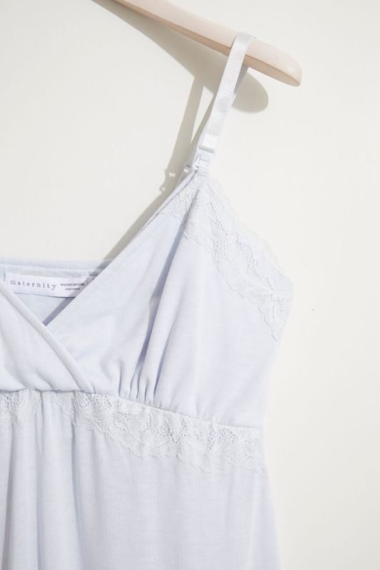 Strappy maternity nightgown in soft jersey-knit