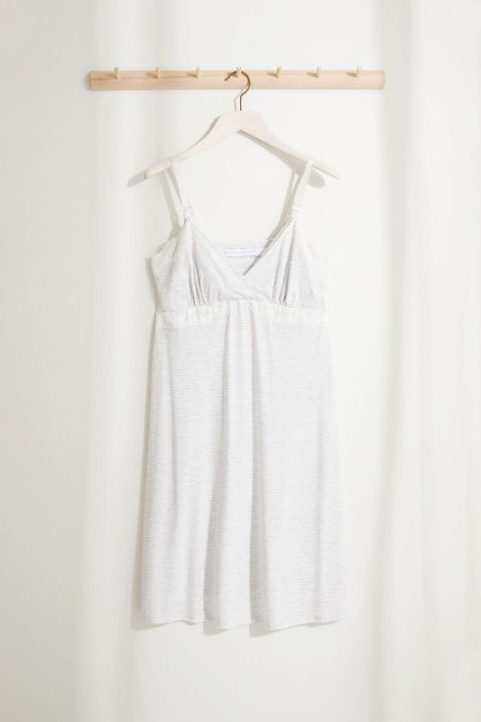 Striped maternity nightgown in lace