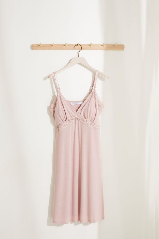 Pink super soft maternity nightgown with lace