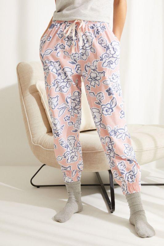 Pink floral cotton jogger bottoms