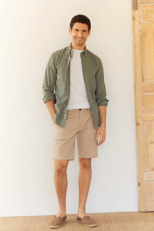 Piqué textured chino Bermuda shorts