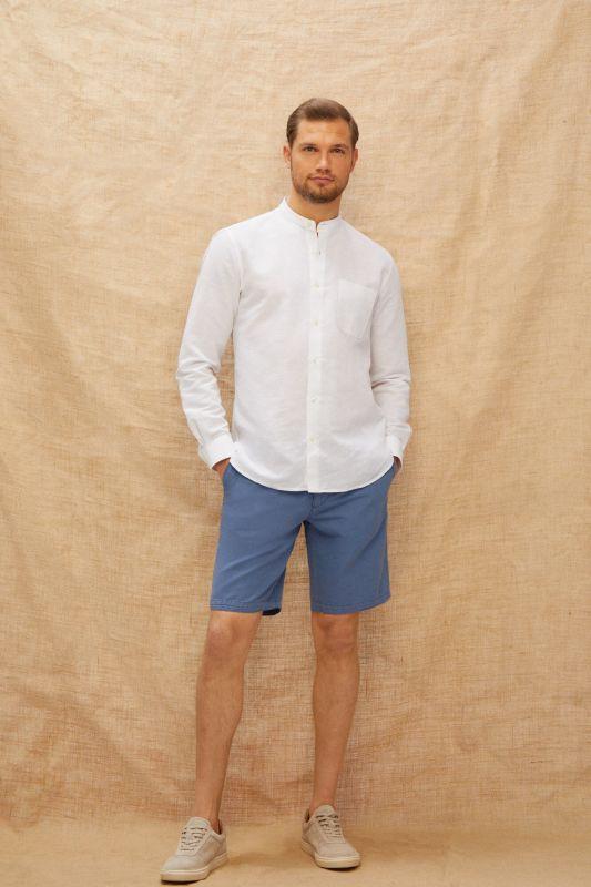 Cotton and linen chino style Bermuda shorts