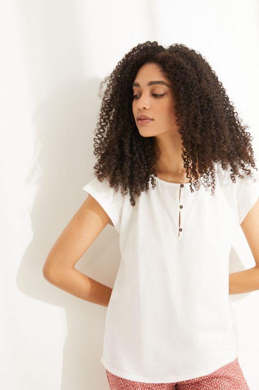 White short puffed sleeve top